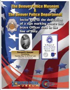 Fallen Officer Sign Ceremony Honoring Patrolman Forrest E. Sawyer